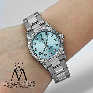 Rolex Diamond Ladies Rolex Oyster Perpetual 67480 Mid-size 31mm Ice Blue Dial Watch