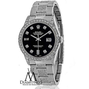 Rolex Diamond Rolex Datejust 16200 36mm Stainless Steel Oyster Bracelet Black Dial