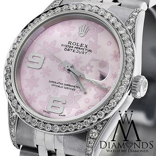 Rolex Diamond Rolex Datejust 16234 36mm Pink Flower Dial Stainless Steel