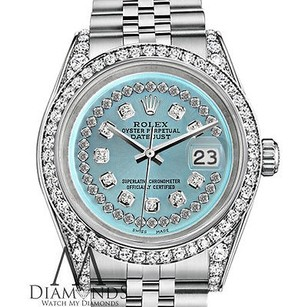 Rolex Diamond Rolex Datejust 36mm Stainless Steel Ice Blue String Diamond Dial Watch