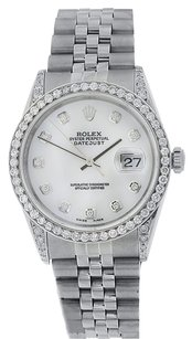 Rolex Diamond Rolex DateJust 36MM Stainless Steel Mother of Pearl Dial Watch 16234