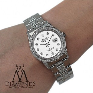 Rolex Diamond Rolex Watch- Datejust 16200 36mm -white Diamond Dial - Oyster Bracelet