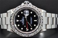 Rolex Diamond Rolex Watch Explorer Ii Black Dial Stainless Steel Band Ct Bezel