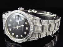 Rolex Full Iced Mens Rolex Mm Datejust Oyster Stainless Steel Diamond Watch Ct