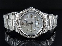 Rolex Full Mens Stainless Steel Rolex Datejust Oyster Mm Mother Pearl Watch 22.5 Ct
