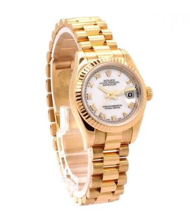 Rolex Rolex Datejust 18K Yellow Gold White Dial Ladies Presidential Watch