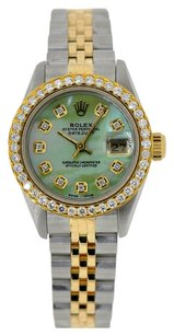 Rolex Ladies Rolex DateJust Two Tone 18K 26mm Watch Green MOP Diamond Dial Bezel 1.00 Ct