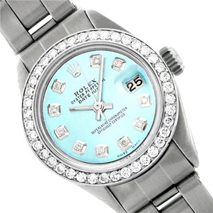 Rolex LADIES ROLEX 6917 DATEJUST SS LIGHT BLUE DIAMOND WATCH