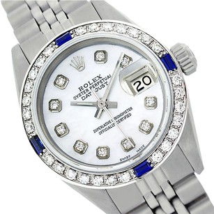 Rolex LADIES ROLEX 6917 DATEJUST SS MOTHER OF PEARL DIAMOND & SAPPHIRE WATCH