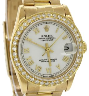 Rolex Ladies Rolex DateJust 18k Gold White Diamond 68278 Watch