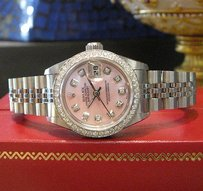 Rolex Ladies Rolex Datejust Pink Mother-of-pearl Diamond Bezel And Diamond Dial Watch