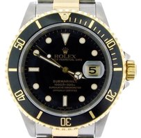Rolex Men Rolex Submariner Date 2tone 18k Yellow Goldstainless Steel Black Sub 1990s