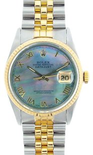 Rolex Men's DateJust Two-Tone Black Mother of Pearl Roman Dial Watch 16013
