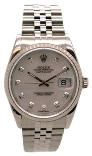 Rolex Rolex Datejust Stainless Steel Custom Diamond White Dial Men's Watch