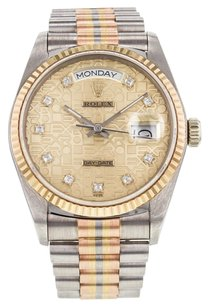 Rolex Men's Rolex Day-Date 18039B Watch in 18k Gold with Diamond Dial and Tridor Presidential Bracelet RLXGPT