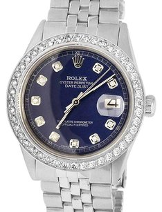 Rolex Mens Datejust 36MM Stainless Steel Blue Dial Diamond Watch 2.5 Ct