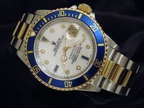 Rolex Mens Rolex 18k Yellow Goldstainless Steel Submariner Mop Diamond Serti Blue Sub