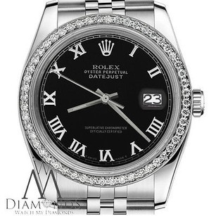Rolex Mens Rolex 36mm Datejust Black Color Roman Numeral Dial Watch