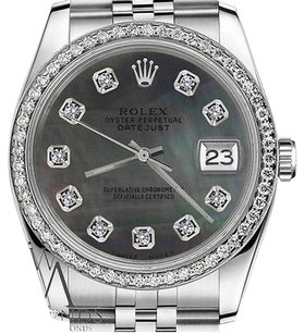 Rolex Mens Rolex 36mm Datejust Black Mop Mother Of Pearl Dial With Diamonds Watch