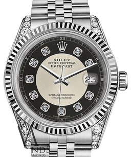 Rolex Mens Rolex 36mm Datejust Silver+Black Tuxedo Dial With Diamond Accent Watch