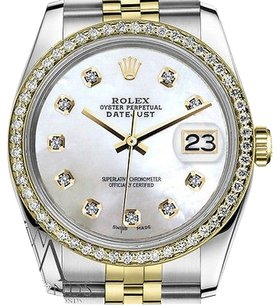Rolex Mens Rolex 36mm Datejust Tone Mop Mother Of Pearl Dial Diamond