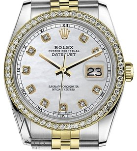 Rolex Mens Rolex 36mm Datejust Tone White Mother Of Pearl Dial With Diamond