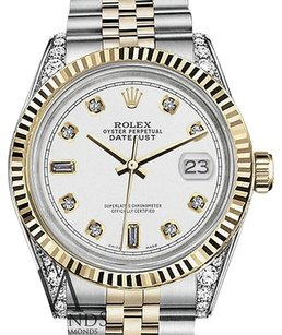 Rolex Mens Rolex 36mm Datejust Two Tone Color Dial With 8+2 Diamond