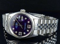 Rolex Mens Rolex Datejust 18k Steel Fluted Bezel 36mm Jubilee Blue Dial Diamond Watch