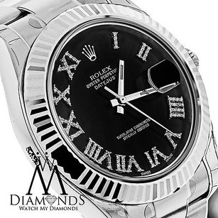 Rolex Mens Rolex Datejust Ii 2 Black Diamond Dial Gold Bezel 41mm Automatic 116334