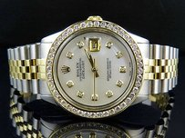 Rolex Mens Rolex Datejust Tone 18k Gold 36mm Steel Jubilee Band Diamond Watch 4.25ct