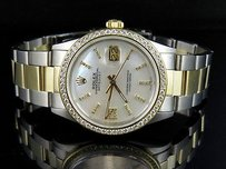 Rolex Mens Rolex Datejust Tone 18k Gold 36mm Steel Oyster Band Diamond Watch Ct