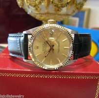 Rolex Mens Rolex Oyster Perpetual Datejust 18k Gold Stainless Steel Gold Dial Watch