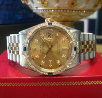 Rolex Mens Rolex Oyster Perpetual Datejust Diamonds Two Tone Yellow Gold And Stainless