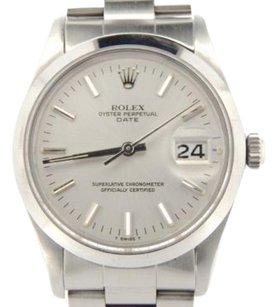 Rolex Mens Rolex Stainless Steel Date Watch Wsilver Stick Dial 15000 Oyster Band 34mm