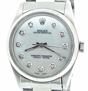 Rolex Mens Rolex Stainless Steel Oyster Perpetual No-date Watch White Mop Diamond 1002