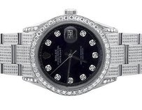 Rolex Mens Stainless Steel Rolex Datejust Oyster Mm Dial Diamond Watch With Ct