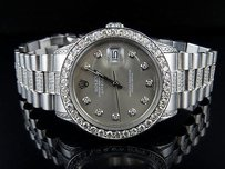 Rolex Mens Stainless Steel Rolex Datejust Presidential Mm Dial Diamond Watch 8.5ct