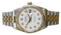 Rolex Mens Vintage Rolex Oyster Perpetual Datejust Diamond Yellow Gold Steel Watch