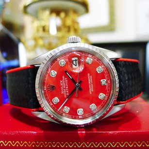 Rolex Mens Vintage Rolex Oyster Perpetual Datejust Steel Red Diamond Dial Watch