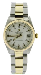 Rolex Mid-Size Rolex DateJust Two-Tone White Roman Print Dial Watch 6827