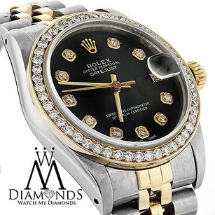 Rolex Midsize Ladies Rolex 78273 Datejust Tone 31mm Black Diamond Dial Bezel