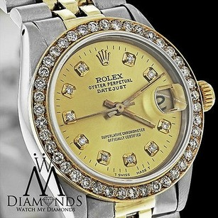 Rolex Midsize Ladies Rolex Datejust Tone 31mm Champagne Diamond Dial Bezel