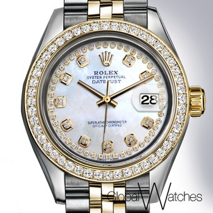 Rolex Natural Pearl Diamond String Rolex 26MM 2-tone 18K Yellow Gold Stain