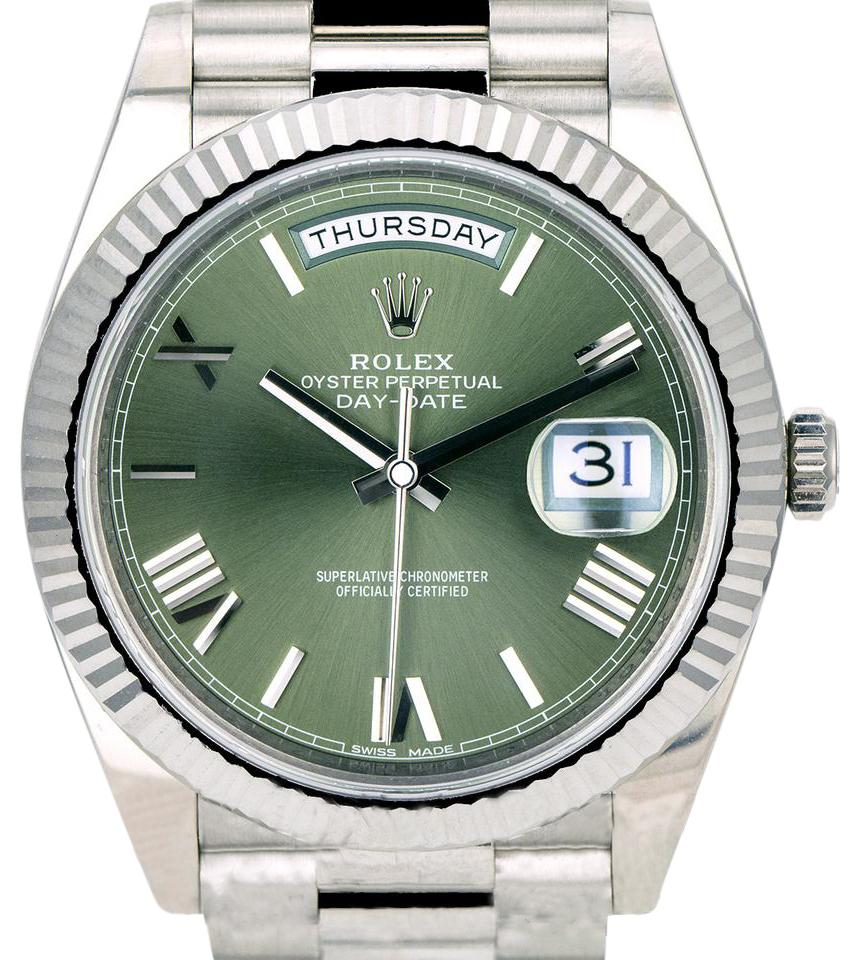 watch green i day white rolex olive watches date gold fluted bezel