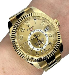 Rolex Original Rolex Sky-Dweller 18K Yellow Gold Watch Champagne Dial