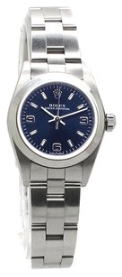 Rolex Oyster Perpetual No Date Stainless Steel Blue Dial Ladies Watch