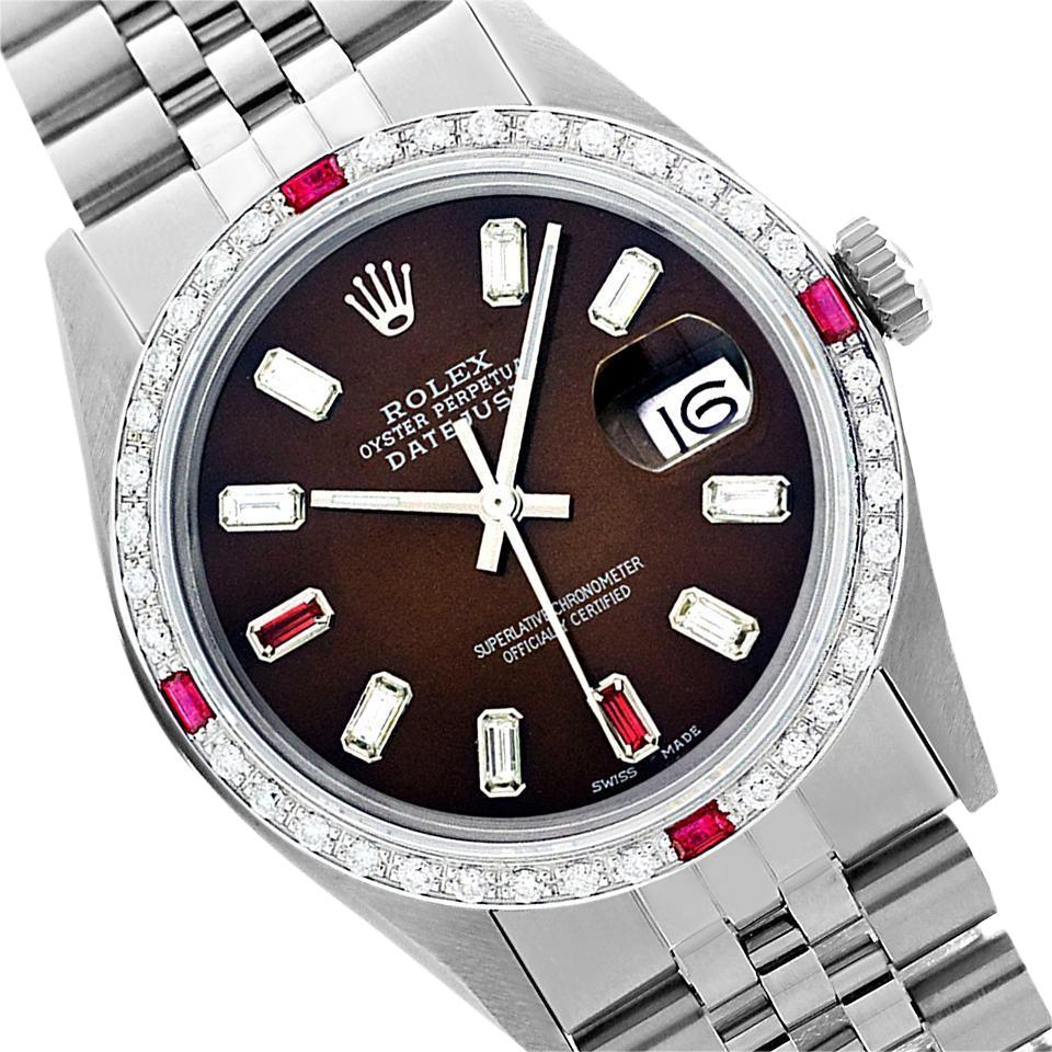 rolex brown preowned datejust diamond ruby mens 36mm watch tradesy
