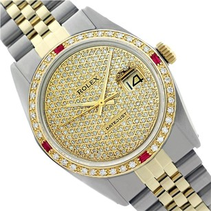 Rolex Preowned Datejust Pave Diamond Dial & Ruby Mens Watch 36mm 16013