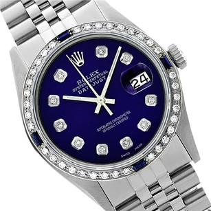 Rolex Preowned Datejust Purple Diamond Sapphire Mens Watch 36mm 16014