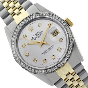 Rolex Preowned Datejust White Diamond Mens Watch 36mm 16013
